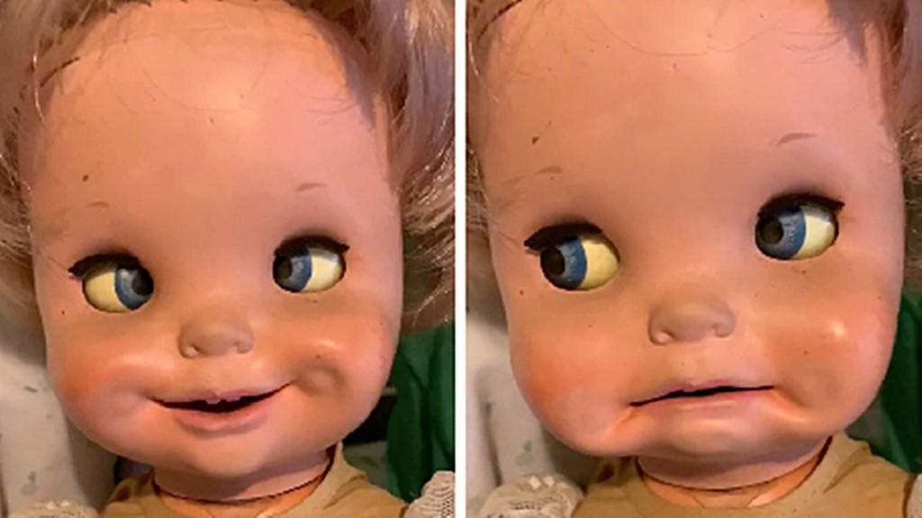 Gruselig. Secondhand Puppe bewegt Augen und Gesicht